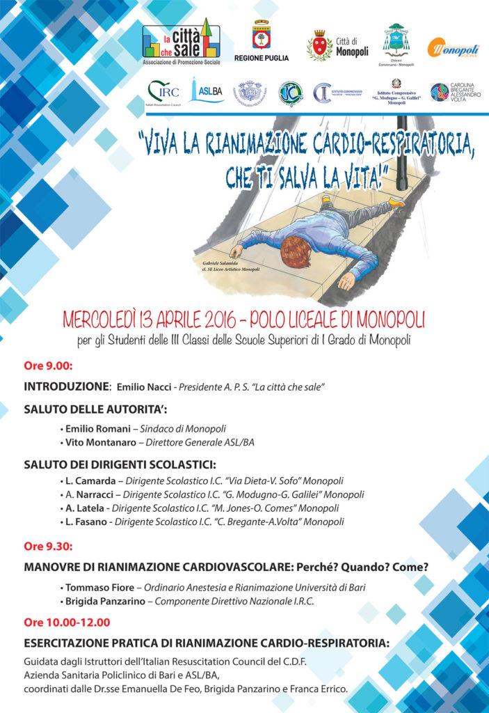 Locandina la Rianimazione CardioRespiratoria Inferiori 13 aprile 2016